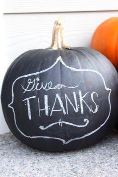Chalkboard Pumpkin... Lasts all season. (Note the completely not Halloween-y photo)