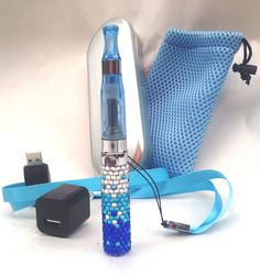 Blue Crystal BLING! CE4 650 mAh eGo-T Electronic Vaporizer Pen Kit + EXTRAS