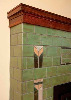 Craftsman Style Homes: Prairie Fireplace – Fireplace tile ideas Glass Tile Fireplace, Fireplace Tile Surround, Fireplace Surrounds, Fireplace Design, Craftsman Tile, Craftsman Fireplace, Craftsman Style Homes, Fireplace Facing, House Tiles