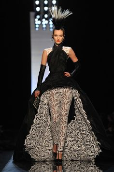 Paris Fashion Week Catwalk Shows | -Paul Gaultier show as part of the Paris Haute Couture Fashion Week ...  -Love the texture and feel of this. Invokes the black and white checkerboard and the roses in wonderland for me