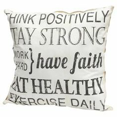 "Bring a charming touch to your sofa or favorite reading nook with this delightful burlap pillow, featuring an inspirational typographic motif.   Product: PillowConstruction Material: BurlapColor: Black and whiteFeatures: Insert includedDimensions: 18"" x 18"""