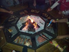 Ultimate open fire braai. Space for each person to cook his own meat, keeping it warm while eating and keep each guest warm as well.