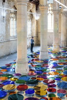 British artist Liz West transformed the interior of the former St John's Church building now housing 20-21 Visual Arts Centre gallery in North Lincolnshire, UK, with her latest installation titled 'Our Colour Reflection'.