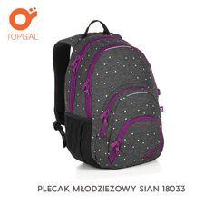 Przepiękny plecak Topgal ze strukturowanego poliestru przypominającego tkaninę, w urocze groszki.