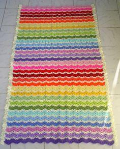 rainbow ajour ripple baby blanket / afghan by handmadebyria,