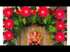 Home Decoration Ideas For Ganpati Flower Decoration For Ganpati, Ganpati Decoration Design, Paper Flowers Craft, Paper Flower Backdrop, Flower Crafts, Paper Crafts, Diy Diwali Decorations, Backdrop Decorations, Paper Decorations