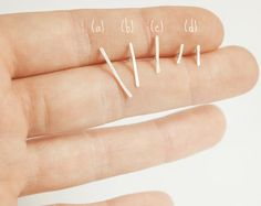Tiny stud line earring in sterling silver a modern touch by umya