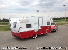 1961 Shasta Airflyte-vintage-Rv-reissue-retro-travel-trailer-canned-ham for sale Retro Travel Trailers, Small Camper Trailers, Small Trailer, Vintage Trailers, Small Campers, Vintage Caravans, Shasta Trailer, Shasta Camper, Car Camper