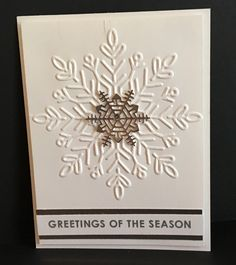 Stampin Up! 2017 Holiday Catalog Products were used to make this stunning card! Shimmery white card stock combined with silver foil paper~so shiny! But check out that Winter Wonderland Embossing Folder! Christmas Cards 2017, Stamped Christmas Cards, Stampin Up Christmas, Xmas Cards, Holiday Cards, Christmas Ideas, Christmas Stuff, Snowflake Cards, Snowflakes