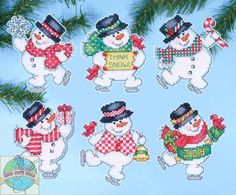 """Kit No. 1686 or DW1686 / UPC: 021465016863. Cross Stitch Kit ~ Set of 6 Think Snow Snowmen XMAS Ornaments PC. Here's a new and unopened complete COUNTED crosstitch kit on plastic canvas of 6 Christmas Ornaments entitled """"Think Snow Ornament Set."""". 