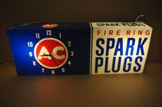AC Delco Antique Clock (Old 1960 Vintage Fire Ring Spark Plugs Advertising Lighted Sign)