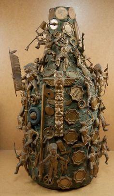 RARE Large Vintage Folk Art Memory Bottle Jug Cowboys Indians Toys Game Pieces | eBay