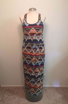 Banana Republic Womens Medium Multi Colored Geometric Pattern Maxi Dress #BananaRepublic #Maxi