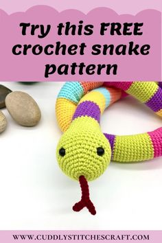 This free crochet snake pattern is an ideal project to start with for any Amigurumi beginner out there! Although snakes are known as cold blooded creatures, Sammy is warm at heart and would make a great gift to play with. You just need to follow a few easy instructions and voila...you are done! :-) And if you wish to adjust the length of your snake, just add or remove a few rounds to make it your own. #crochet #amigurumi #crochettoys #crochetanimals #freecrochetpattern Crochet Baby Toys, Cute Crochet, Crochet For Kids, Crochet Crafts, Crochet Projects, Easy Amigurumi Pattern, Softie Pattern, Crochet Doll Pattern, Crochet Animal Patterns