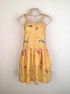 Vintage 1970s 'Options' butter yellow crepe sundress with abstract Japanese print and tie straps