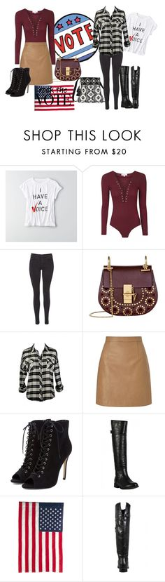 """""""Raise Your Voice"""" by lilyboutique ❤ liked on Polyvore featuring American Eagle Outfitters, Maison Scotch, Chloé, Lipsy, Evergreen Enterprises, LilyBoutique and rockthevote"""