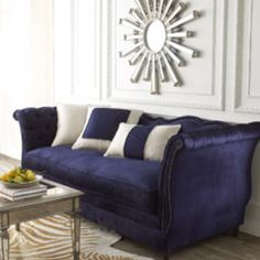 Navy Blue Living Room Sofa from Horchow  love blue with golden zebra print