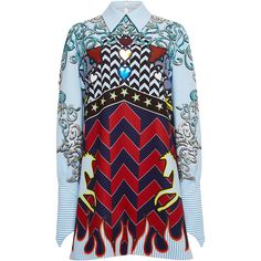 Mary Katrantzou Eden Crepe Shirt Dress ($4,740) ❤ liked on Polyvore featuring dresses, long shirt dress, cowboy dress, embroidery dress, pattern dress and print dress