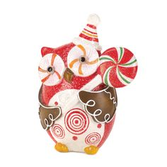 10 of Sugary Sweet Holiday OWL Decor. This owl is a sugary sweet addition to your holiday decor! He holds a bright lollipop in his gingerbread-like wings, and his glittery finish will make your room sparkle. Christmas Owls, Christmas Figurines, Christmas Holidays, Christmas Decorations, Christmas Ornaments, Whimsical Christmas, Christmas Colors, Happy Holidays, Merry Christmas