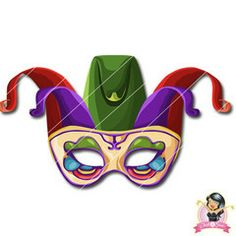 Childrens Printable Jester Mask 1 | Simply Party Supplies Printable Masks, Printables, Jester Mask, Half Mask, Printer Paper, Hole Punch, Print And Cut, Continental, Party Supplies