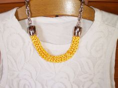 yellow necklace knitted necklace boho by TheKnittedNecklace