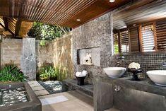 Outdoor Bathrooms 636626097305361773 - Amazing Sensational Outdoor Bathroom Design The Dream of Every House Source by safehouz Zen Bathroom, Modern Master Bathroom, Modern Bathroom Design, Bathroom Interior Design, Balinese Bathroom, Indoor Outdoor Bathroom, Outdoor Baths, Romantic Bathrooms, Dream Bathrooms