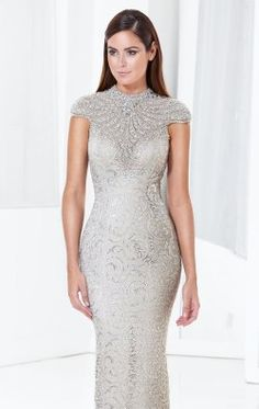 Beaded Metallic Lace Gown by Terani Couture Evening E3797