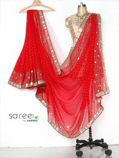 Red Georgette Saree with Cutdana and Stone Work
