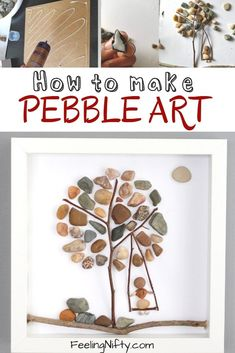 Pebble Art- Create a Super Easy DIY Pebble Art Tree {Easy Art/Craft Ideas} - How to make DIY pebble art. Easy craft for all ages, for kids, teens, adults and seniors. Arts And Crafts For Adults, Art Projects For Adults, Crafts For Teens To Make, Easy Arts And Crafts, Crafts For Seniors, Easy Art Projects, Adult Crafts, Arts And Crafts Projects, Diy For Teens