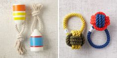 Get your pup in the swing of all things summer with the nautically themedFloats My Boat buoy toy and Have a Ball rope toy, both by Waggo and offered with free shipping from West Elm.