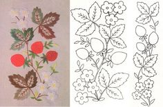 strawberry panel and narrow border - flowers, leaves, fruit Brazilian Embroidery Stitches, Jacobean Embroidery, Folk Embroidery, Hand Embroidery Patterns, Ribbon Embroidery, Machine Embroidery Designs, Bordados E Cia, Patch Aplique, Quilling Patterns