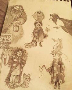 An irresistibly cute Harry Potter merch sale at Primark got me into the Potter spirit so here's some doodles ✨⚡️✨ Original drawings by @coryloftis and @mikemaihack and some other artists I couldn't identify. #drawing #doodle #art #artwork #harrpotter #harrypotterart #potter #jkrowling #characterart #harrypotter #ronweasley #hermoniegranger #severussnape #hagrid #traditionalart #sketch #sketchbook #sketch_daily #pencilart #pencildrawing