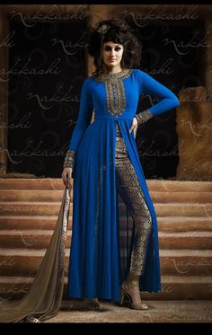 Smashing Deep Blue Party Wear Pent Kameez Set