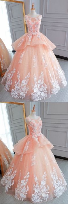 Pink tulle princess round neck long evening dress, long white lace flower prom gown