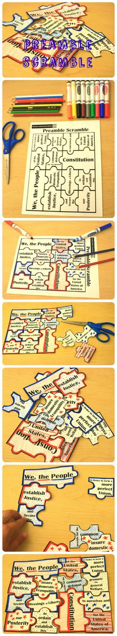 Have fun getting to know the phrases of the Preamble of the Constitution while unscrambling your DIY puzzle. Great for kids to personalize and decorate for Constitution Day on September 3rd Grade Social Studies, Social Studies Classroom, Social Studies Activities, History Classroom, Teaching Social Studies, Teaching History, Teaching Tools, History Education, History Activities
