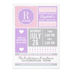 Pink and Purple Baby Shower Invitation