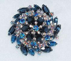 Verified Juliana by Delizza and Elster Blue Rhinestones Swirl Silver Brooch Pin