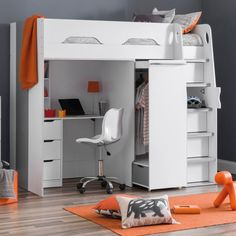 The Happy Beds Pegasus High Sleeper - the perfect bed storage kids bed. That's right, we said it. This innovative and unique high sleeper bed features an underbed desk with plenty of headroom for a teen, drawers, cupboards, shelves, and a pull-out wardrobe! Oh, and we almost forgot, it's a place