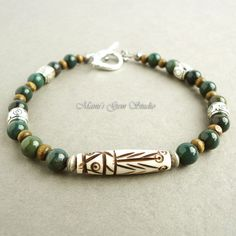 Bloodstone and Tribal Carved Bone Bracelet for by mamisgemstudio, $24.95