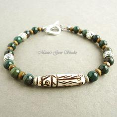 Bloodstone and Tribal Carved Bone Bracelet for by mamisgemstudio, $24.95