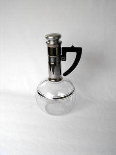 Vintage Inland Coffee Carafe Hand Blown, Mid-Century Kitchen Bubble Bowl Carafe, Art Deco Glassware, Mercury Glass Neck, Retro Kitchen by ShaginyAndTil on Etsy