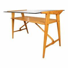 1960s Stylized White Oak Desk with Glass Top For Sale Modern Desk, Modern Table, Table Desk, Table Furniture, Vintage Writing Desk, Unique Desks, Oak Desk, Rectangle Table, White Oak