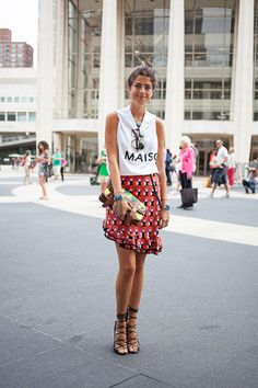 Our favorite #ManRepeller rocking a statement #Marni skirt and classic tee combo. Love. #FashionMath