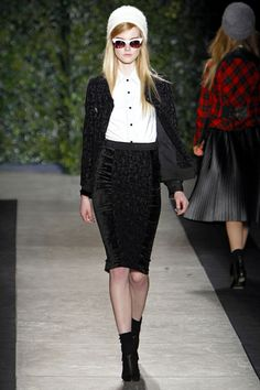 Tracy Reese - New York Fashion Week A/W 2013 - Monochrome outfit - paneled velvet skirt with matching jacket and classic white shirt