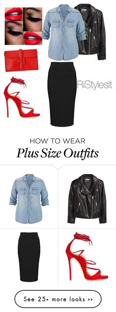 The PLUS side of Things #Simple #Chic by styledbyriah on Polyvore featuring moda, Hermès, Dsquared2, H&M, maurices e Yoek