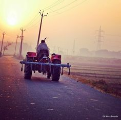 A farmer going to his fields in the early hours of the morning-Punjab (India)