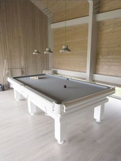 Here is one of our Traditional Pool Tables made from solid oak in our wood colour (white). This table has a Hainsworth Smart Silver Cloth, as well as a special set of white pool balls. White Pool Table, Diy Pool Table, Custom Pool Tables, Pool Table Room, A Table, Luxury Homes Interior, Luxury Home Decor, Unique Home Decor, Basement Bar Designs