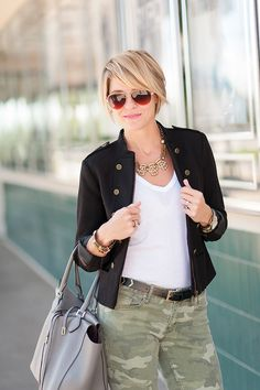 Military Maven love the pants with a black jacket would love a military jacket for summer/spring/fall not to heavy no have to zip or button black or navy Short Hair Cuts, Short Hair Styles, Bobs For Thin Hair, Military Fashion, Military Style, Military Jacket, Blonde Balayage, Bob Hairstyles, African Hairstyles