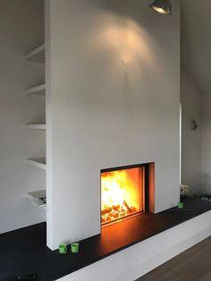 Storage, Storage, Storage. Something to think about when you're designing your fireplace. #storage #fireplace #stuv #fire #stove #wood #burner #inset #shelves #design #interior #flames #bespoke #kernowfires #wadebridge #redruth #cornwall