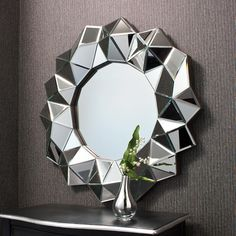 Aura Multi Faceted Art Deco Mirror Framed Round Wall Mirror